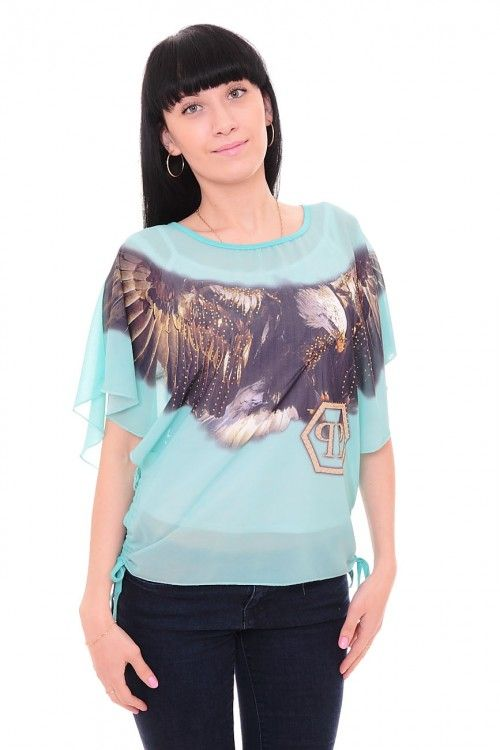 Блузка бирюзовая А7667 Размеры: 48-50 Цена: 450 руб.  http://optom24.ru/bluzka-biryuzovaya-a7667/  #одежда #женщинам #блузки #оптом24