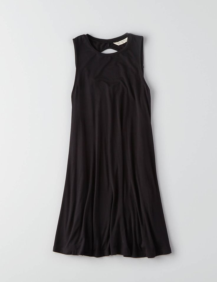 AEO Soft & Sexy Solid Swing Dress , Black | American Eagle Outfitters