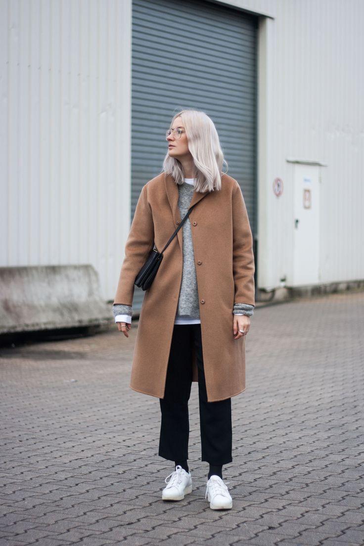 theplaincircle | camel coat, platin hair, celine, céline trio, acne studios, kobe sneakers, track pants