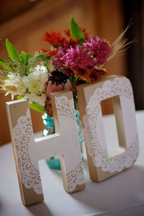 wedding monogram letters with paper doily decor #doily #wedding #decor #ideas