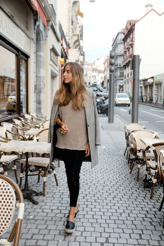 Check black and white coat, taupe sweater, black jeans and black espadrilles