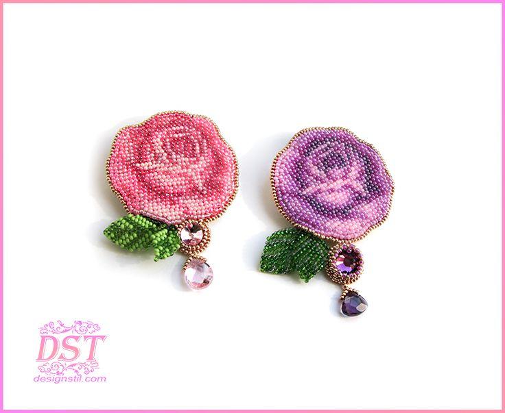 Вышитая бисером брошь ручной работы - Винтажная роза - Броши и аппликации вышитые бисером