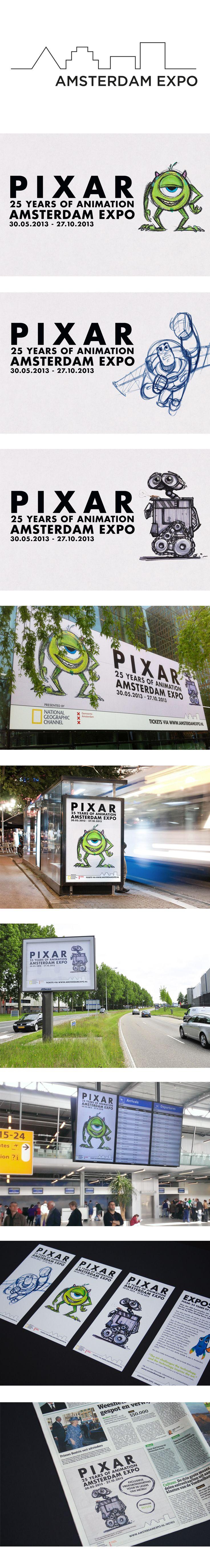 Amsterdam EXPO opende op donderdag 30 mei 2013 haar deuren voor de internationale expositie Pixar: 25 Years of Animation. Voor deze expositie zijn meer dan 500 oorspronkelijke kunstwerken geselecteerd uit de archieven van Pixar Animation Studios in Californië. ZIGT Studio is gevraagd om een basisontwerp te maken op basis van het bestaande 'artwork' van de expositie. Op basis van deze beelden hebben wij  zo goed als alle on- en offline (campagne)materiaal ontwerpen en geproduceerd.