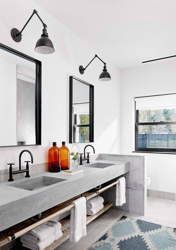 Black faucets + concrete sinks