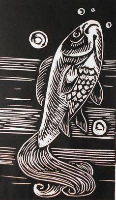 sea creatures lino cut ile ilgili görsel sonucu