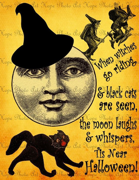 Halloween Moon Witches of the Night Image by HopePhotoArt on Etsy: