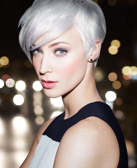 Get This Look:  Platinum Status  Go light, lighter, lightest with an ultra-cool platinum blonde. Amazing on short cuts!  Ready to go this blonde? Ask your stylist for: DOUBLE PROCESS