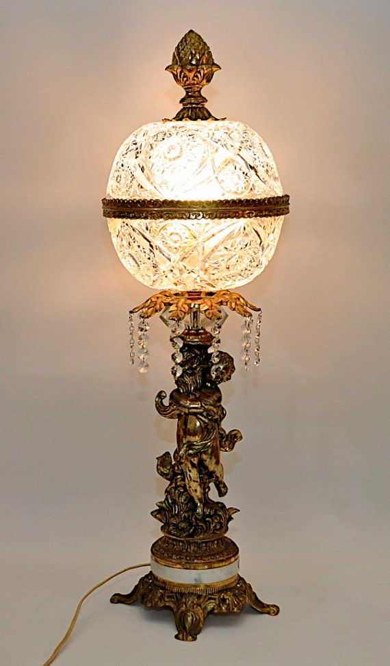 Stunning Vintage Brass Cherub Lamp With Glass Crystal Shade And Marble Base Neo Classic Parlor
