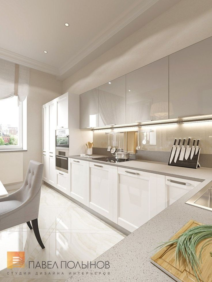 Дизайн интерьера просторный кухни в стиле неоклассики