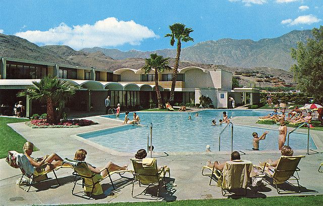 Vintage Postcard Image Of The Gene Autry Hotel Pool In Palm Springs Is Now Parker On Back Cap