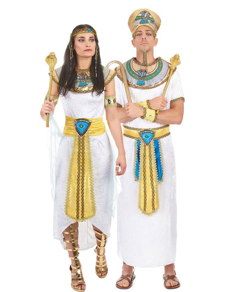 Disfraz de pareja real egipcia: Disfraz de reina egipcia para la mujerEste disfraz de reina egipcia para mujer se compone de un vestido con velo, un cuello, una cinta para el pelo, dos brazaletes y un cinturón. El...