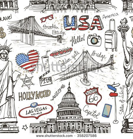 New York Doodle seamless pattern.American travel symbols in hand drawn sketch.Vector icons,sign of landmark,lettering.Vintage Illustration,background,backdrop ornament.Retro