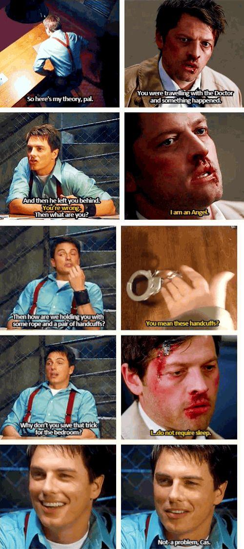 "(gif set) ""Not a problem, Cas."" ||| Jack/Castiel ||| Superwho ||| Supernatural + Doctor Who / Torchwood"