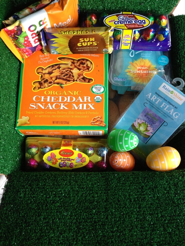 Easter theme care package. Easter eggs filled with encouraging scriptures and chocolates of course. Garden flag and foe grass to bring a little spring color to the desert.