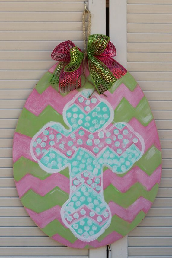 Wooden Easter Egg Door Hanger - Hand painted chevron - deco mesh bow - Easter Cross - Ready to ship
