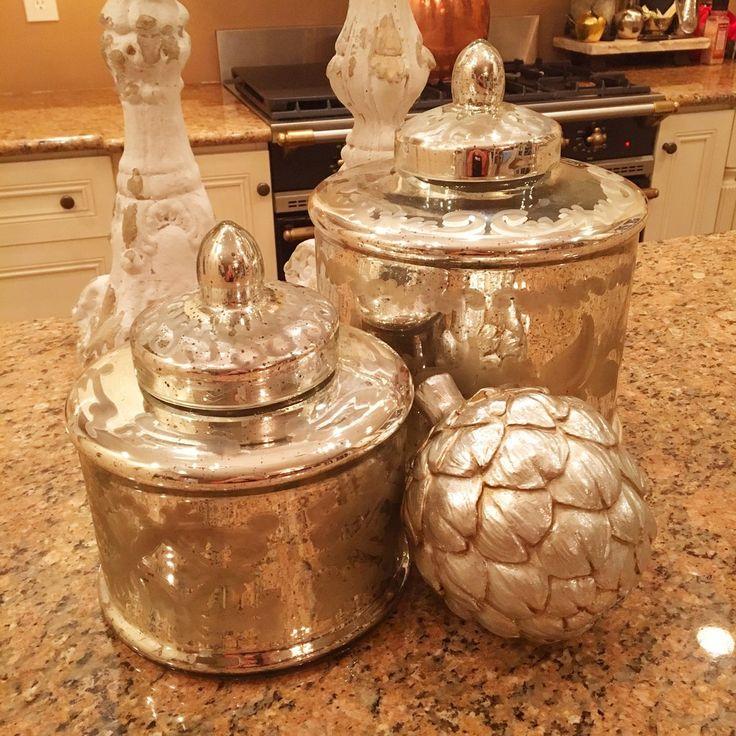 Etched Mercury Glass Lidded Jar