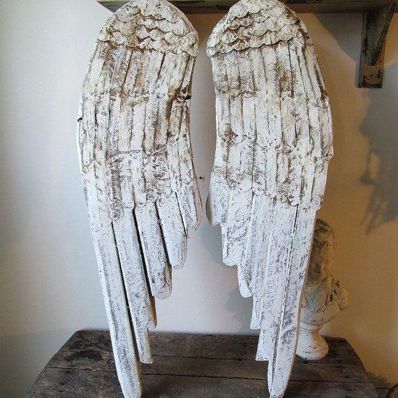 Holz Engelsflügel Wanddekor handgemalte Französisch Nordic weißen rostige Bauern Flügel hängende Skulptur Engel Dekoration anita spero Design