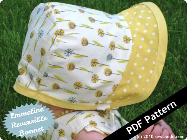 Free Printable Baby Bonnet Patterns | reversible bonnet pattern which includes two retro baby bonnet styles
