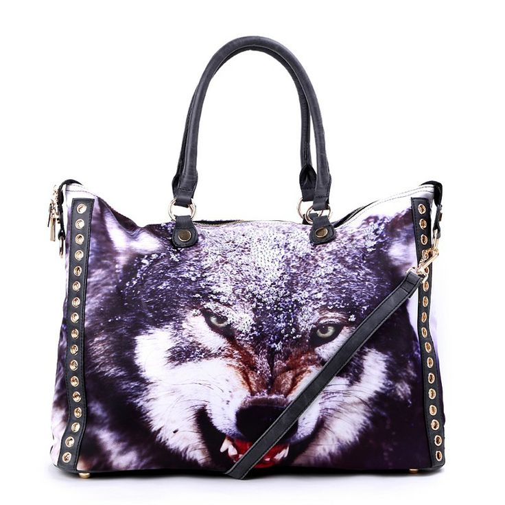 Autumn/Winter 2014 | FULLAHSUGAH WOLF RIVET STONES SHOPPER BAG | €44.90 | 3434104720 | http://fullahsugah.gr