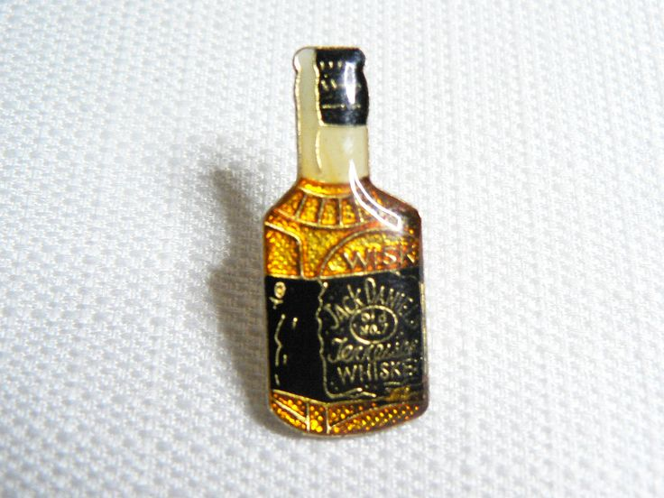 Vintage Late 1970s Jack Daniels Whiskey Bottle Enamel Pin / Button / Badge by beatbopboom on Etsy