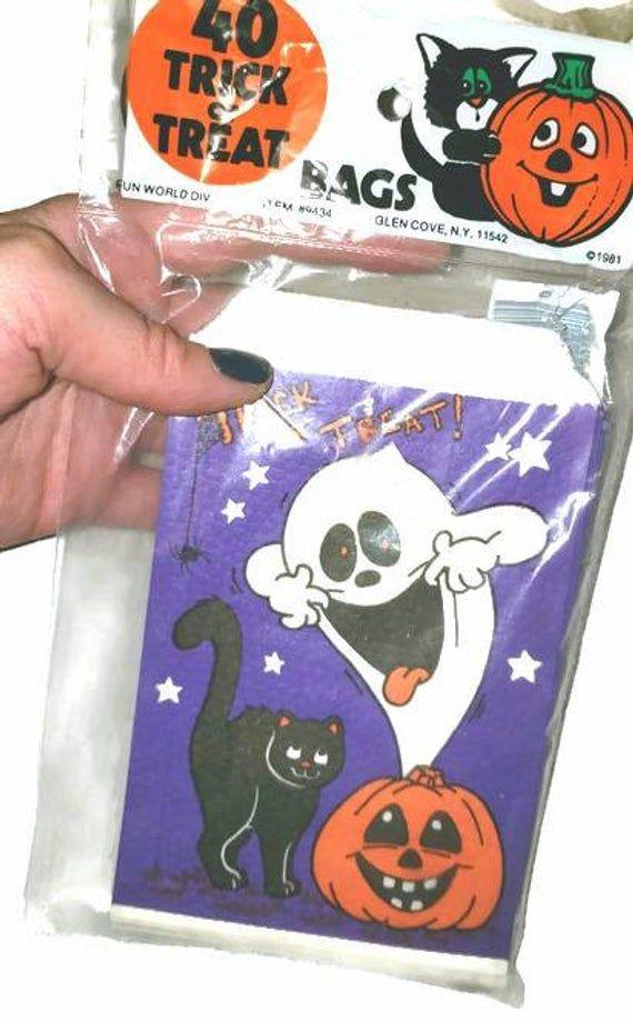 80s Nos Halloween Treat Bags 40 Vintage Paper Halloween Ephemera Candy Bags Purple Black Ghost Scaredy Cat Jack O Lantern Favor Loot Bags Halloween Treat Bags Halloween Paper Vintage Paper