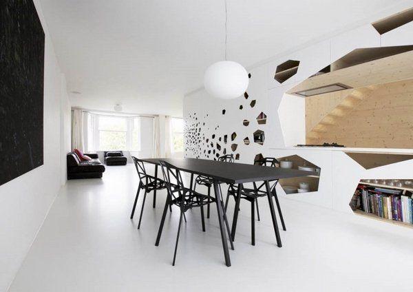 minimalist interior design ideas open space dining room furniture white interior black furniture