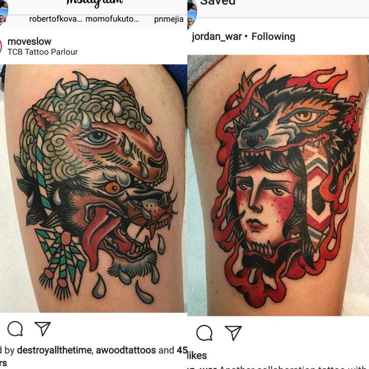 My thighs done by Jordan war and Brandon Ing at TCB tattoo parlour Toronto Ontario.