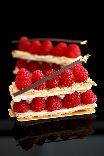 Millefeuille au Chocolat-Framboise by bossacafez, via Flickr......inspiration only, no recipe (just a description of the dessert)