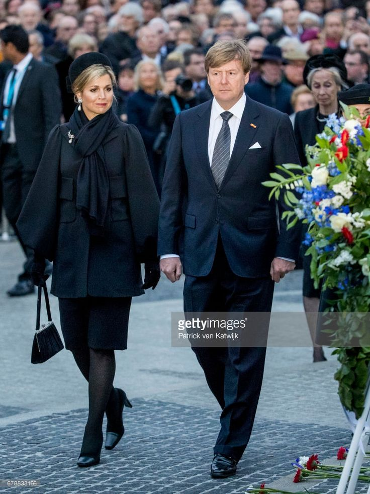 King Willem-Alexander and Queen Maxima of The Netherlands attend the National Remembrance ceremony at the National Monument on Dam Square on May 04, 2017 in Amsterdam, Netherlands. The ceremony is held annually and commemorates all civilians and members of the armed forces of the Kingdom of the Netherlands who have died in wars or peacekeeping missions since the outbreak of World War (Photo by Patrick van Katwijk/Getty Images)