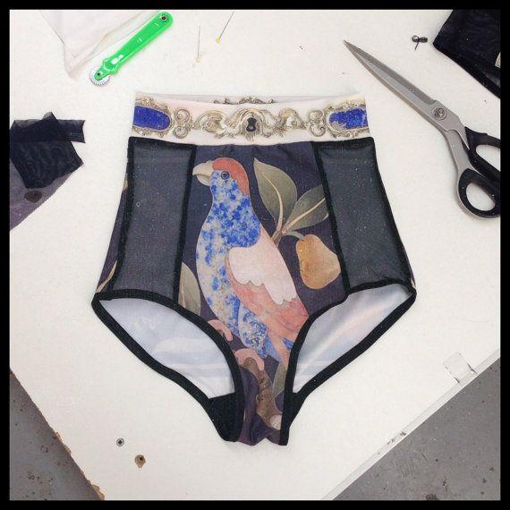 High Waist Panties - Rijksmuseum Collaboration - black mesh and digitally printed spandex on Etsy, $95.77 CAD