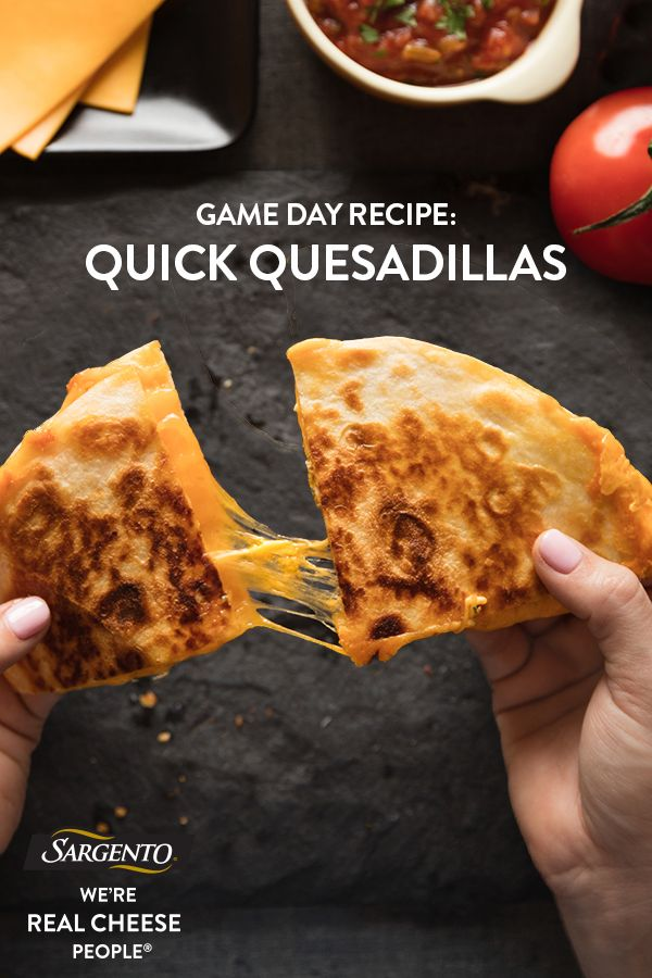 Promoted by Sargento®. Running down the clock and searching for a last-minute recipe to save your Game Day spread? Simple tortillas don't have to taste simple, especially when using Sargento® Sliced Mild Cheddar in combination with your favorite salsa. Just heat until the cheese bubbles out the sides, then garnish with a dollop of sour cream for that perfectly cooling ingredient. Click through for the super simple recipe!
