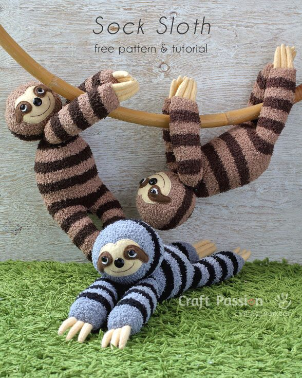 "Sew cute & sluggish looking sock sloth, Smie. It is 16"" long sewn from chenille socks, with 3 claws on each limb, big groggy eyes & a sweet smile. – Page 2 of 2"