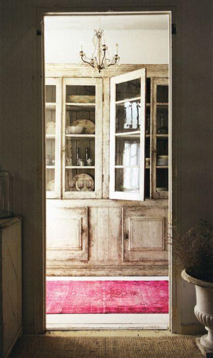 vintage cupboard and rug...
