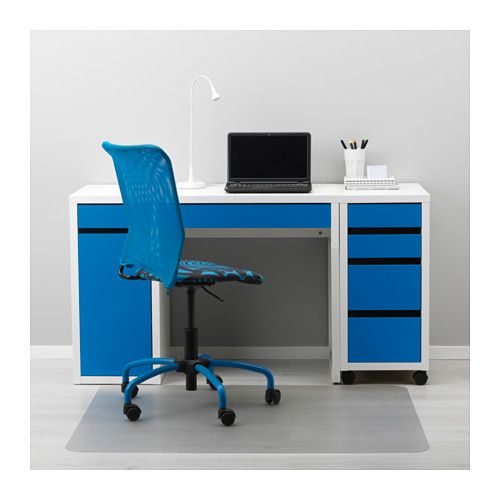 MICKE Desk - white/blue - IKEA (NOTE: this configuration in all white; however, left side harddrive cabinet not needed)