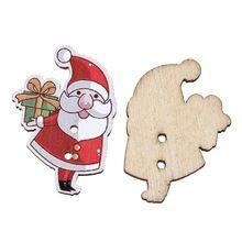"DoreenBeads Botón de Costura de Madera Scrapbooking Navidad Santa Claus Rojo 2 Agujeros de 3.3 cm (1 2/8 "") x 23.0mm (7/8""), 5 Unids 2015 nuevo(China (Mainland))"