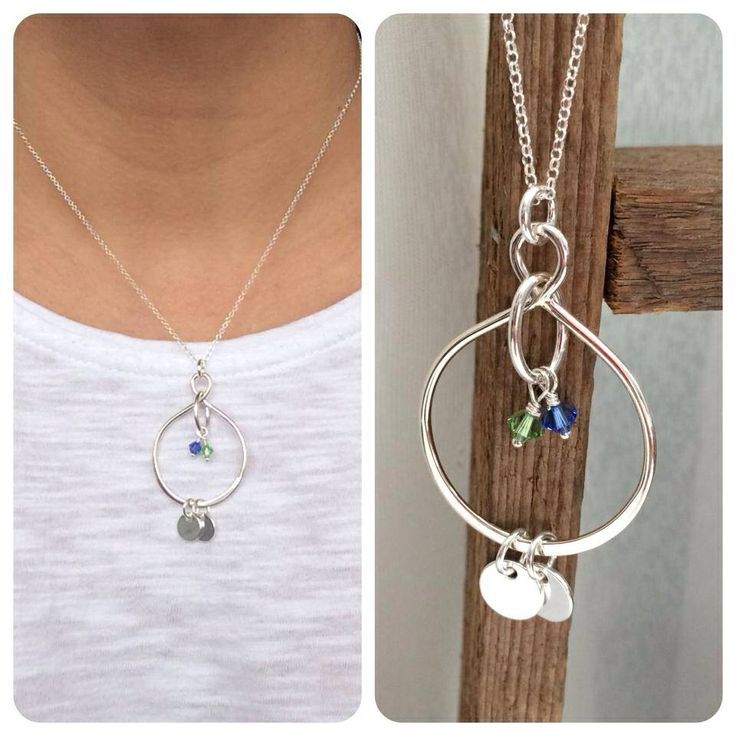 Sterling silver infinity pendant with hand stamped tiny initial rounds and Swarovski crystal birthstones. www.fb.com/ENVYartDesigns #handstamped #sterlingsilver #envyartdesigns