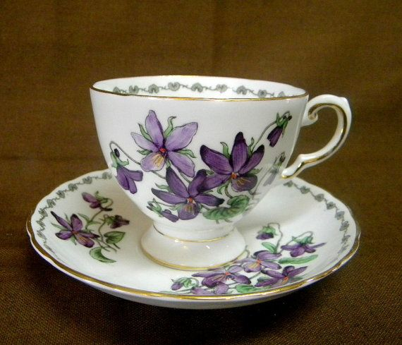 Tuscan Violets Teacup and saucer English porcelain midcentury tea cup set