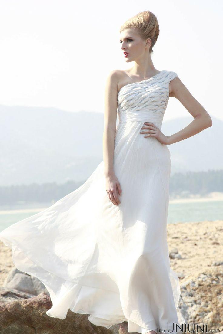Cool Aegean Sea white one shoulder high waist floor length tencel dinner dress