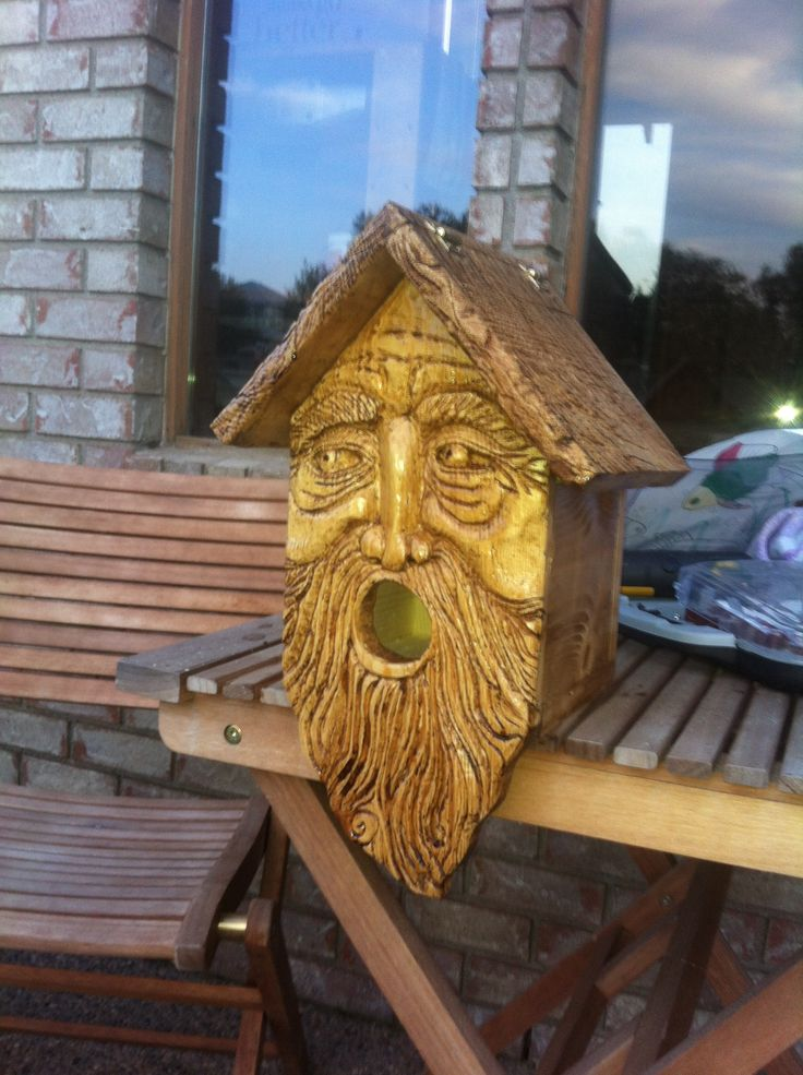 My moms birthday gift I made for her. Hand carved wood spirit bird house : )