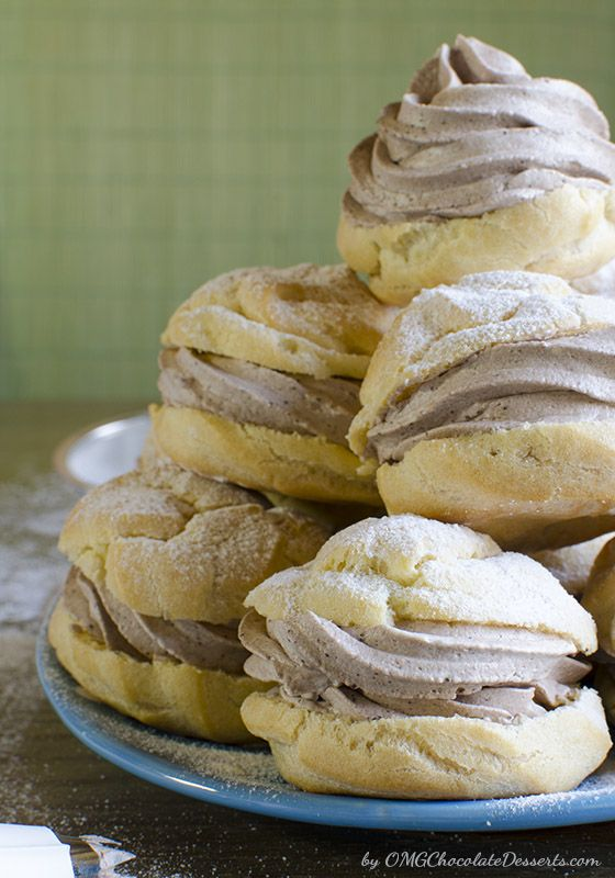 Chocolate Cannoli Cream Puffs - from OMG Chocolate Desserts.  I am so making these!