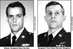 "Master Sergeant Gary Gordon and Sergeant First Class Randall Shugart were posthumously awarded the Medal of Honor for their actions in the Battle of Mogadishu (""Blackhawk Down""). Gordon and Shugart volunteered to protect four other soldiers critically wounded in a helicopter crash, despite being well aware of a growing number of enemy personnel closing in on the site."