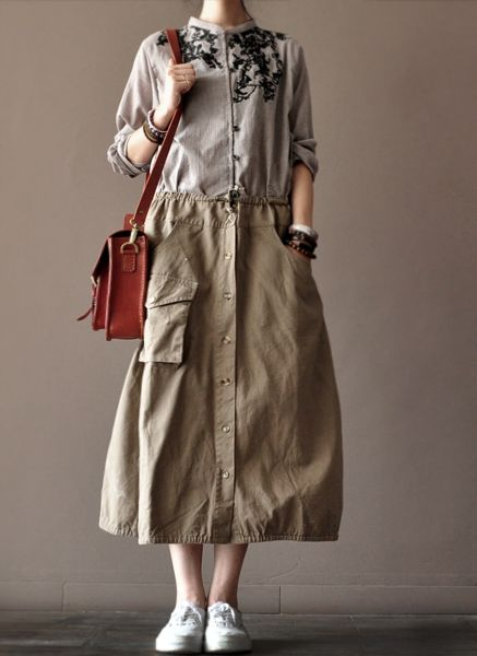 Cotton Skirt women clothes