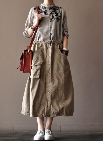 Cotton Skirt women clothes