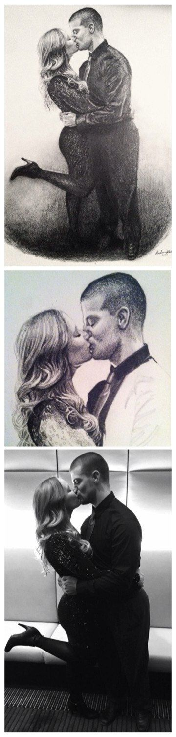 Custom Original Portrait Drawing in Graphite by AmbersFineArt. Beautiful, realistic, highly detailed, high quality portrait drawings. Unique personalized gifts.  This one was a romantic surprise Valentine's Day gift from a girlfriend to her boyfriend.  A great gift idea for wedding, bridal shower, anniversary, Christmas or birthday present.