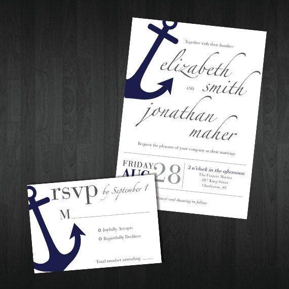 Aangepaste afdrukbare anker bruiloft uitnodiging door PintSizedPaper