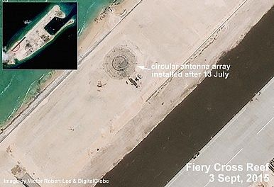Antenna on Fiery Cross Reef, South China Sea. http://thediplomat.com/2015/09/south-china-sea-satellite-imagery-shows-chinas-buildup-on-fiery-cross-reef/