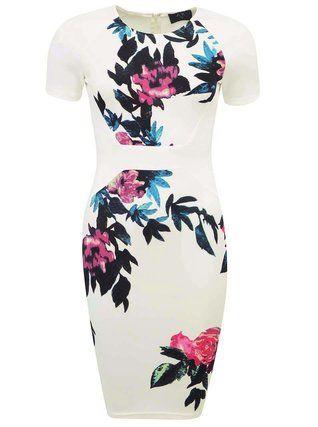 AX Paris - Bílé květované šaty ke kolenům - 1
