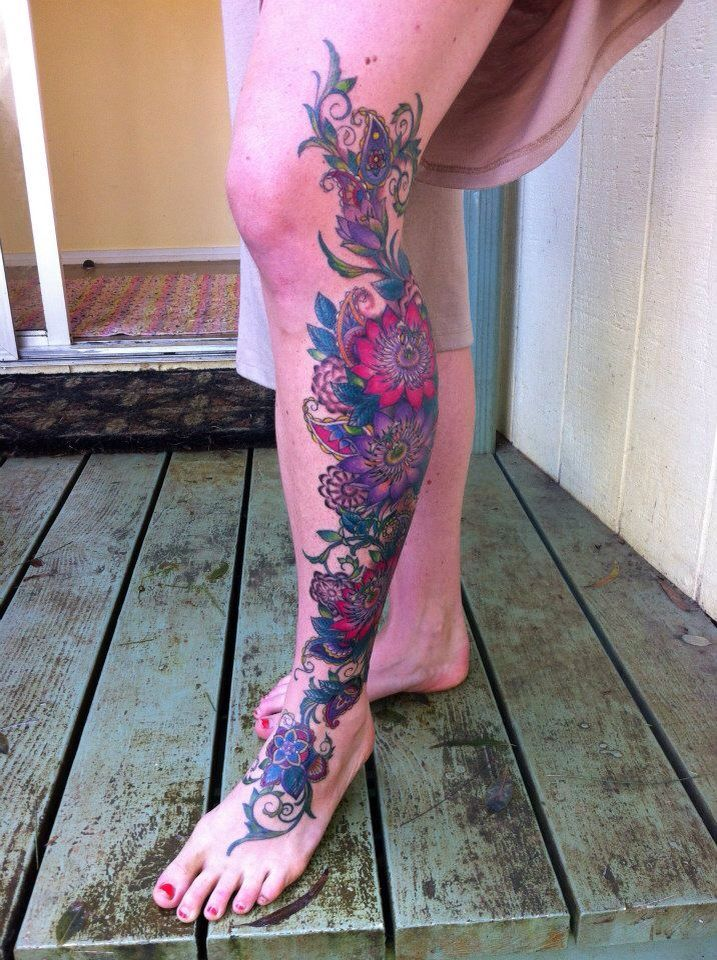 Paisley and Passion flower leg tattoo by Sadie Kennedy, Rose Gold's Tattoo, San Francisco