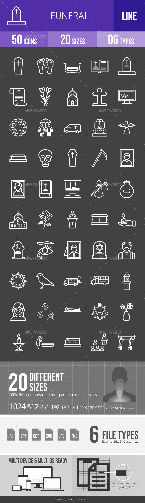 Funeral Line Inverted Icons Design Template - Icons Design Template Vector EPS, AI Illustrator. Download here: https://graphicriver.net/item/funeral-line-inverted-icons/19391434?ref=yinkira