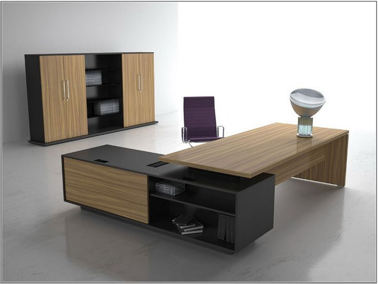 Luxury Modern Home Office Desk Design Idea In Brown And Black With Open Shelves With Books
